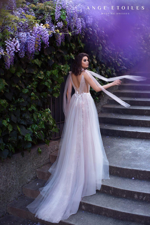 A-line light blush wedding dress