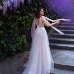 A-line light blush wedding dress