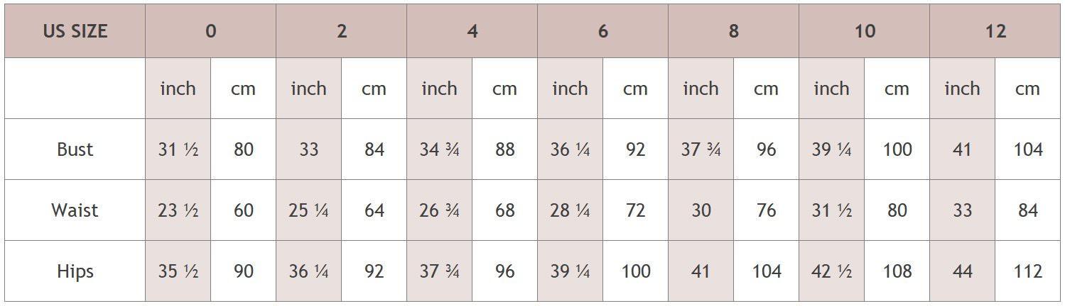 size chart Rara Avis - Luxx Nova