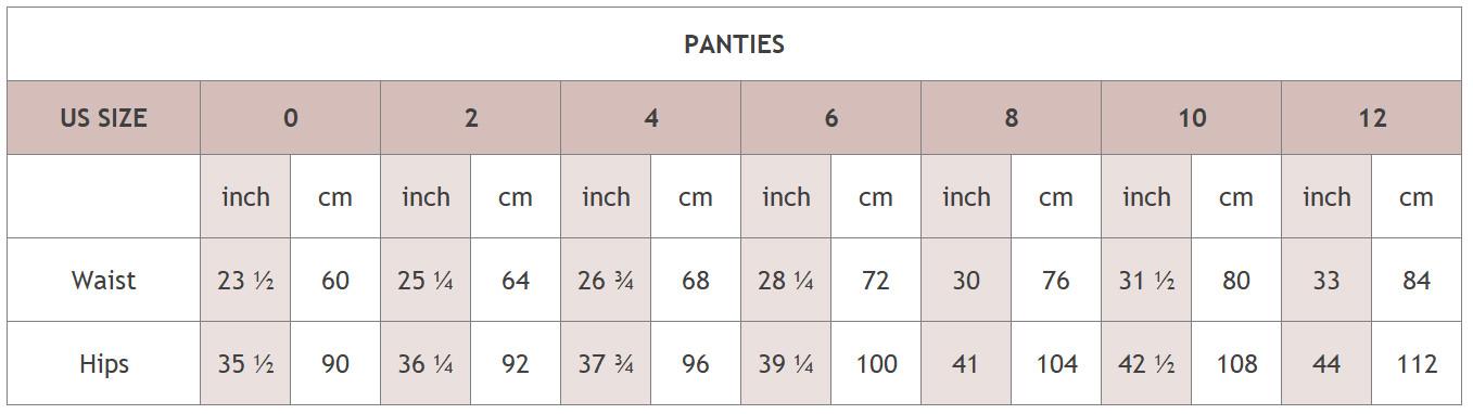 size chart Panties - Luxx Nova