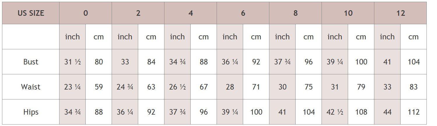 size chart D - Luxx Nova