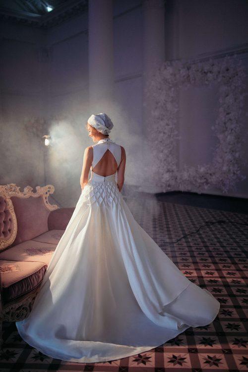 A-line white wedding dress by European designer Blammo-Biamo
