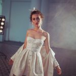 Short brocade wedding dress Chezara by Rara Avis Group