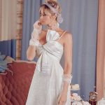A-line white spaghetti straps wedding gown Dafna by Rara Avis Group