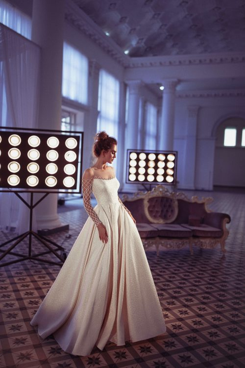 Long sleeve wedding dress by European designer