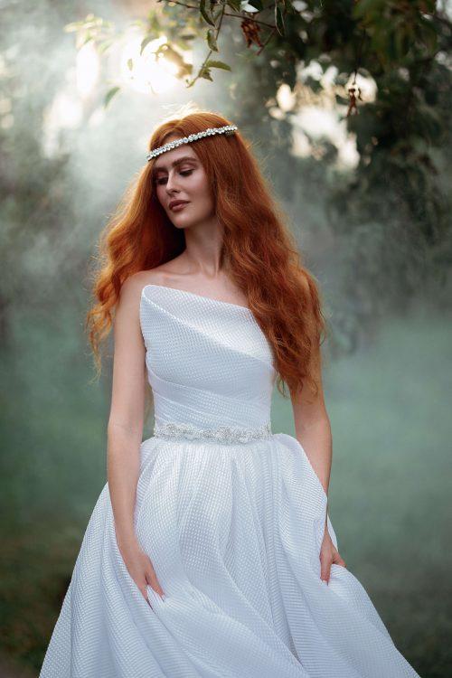 Strapless A-line wedding dress by Rara Avis Group