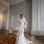 Fir and flare white long sleeve wedding gown Ekaterina by Rara Avis