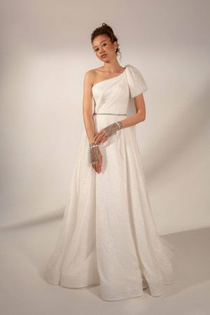 A-line one shoulder wedding dress Lubov by Rara Avis