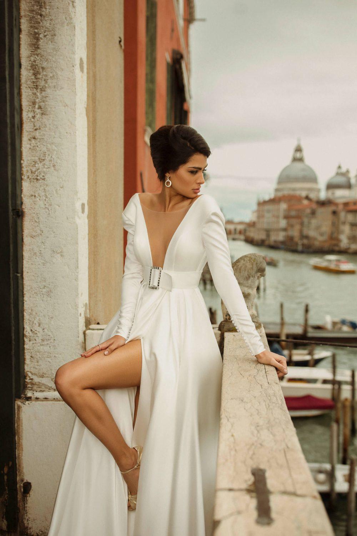 White satin A-line wedding dress Charlen by Rara Avis