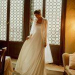 A-line white satin long wedding dress Edit by Rara Avis