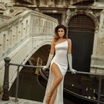 One shoulder fitted wedding dress Jina by Rara Avis with a slit