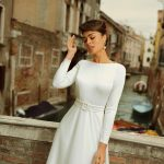 A-line long sleeve satin wedding dress Meri by Rara Avis